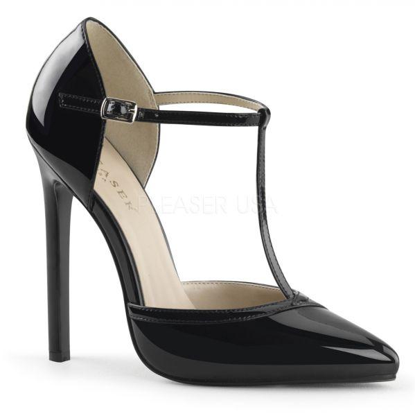 Elegante schwarze D-Orsay High-Heels mit schmalem T-Riemchen SEXY-27